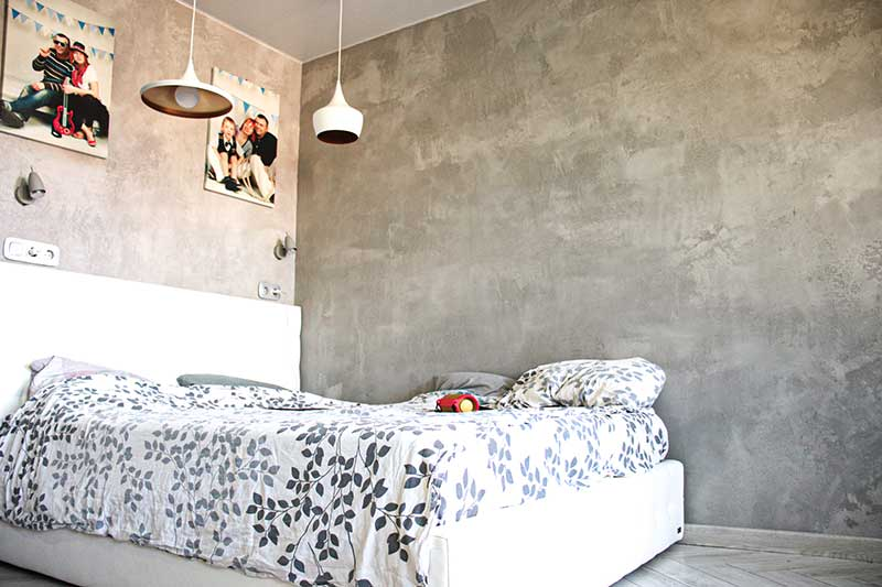 спальня в стиле лофт под бетон